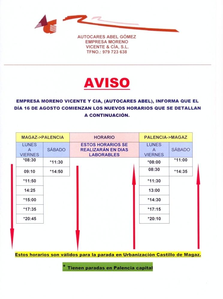Nuevos horarios de autobuses