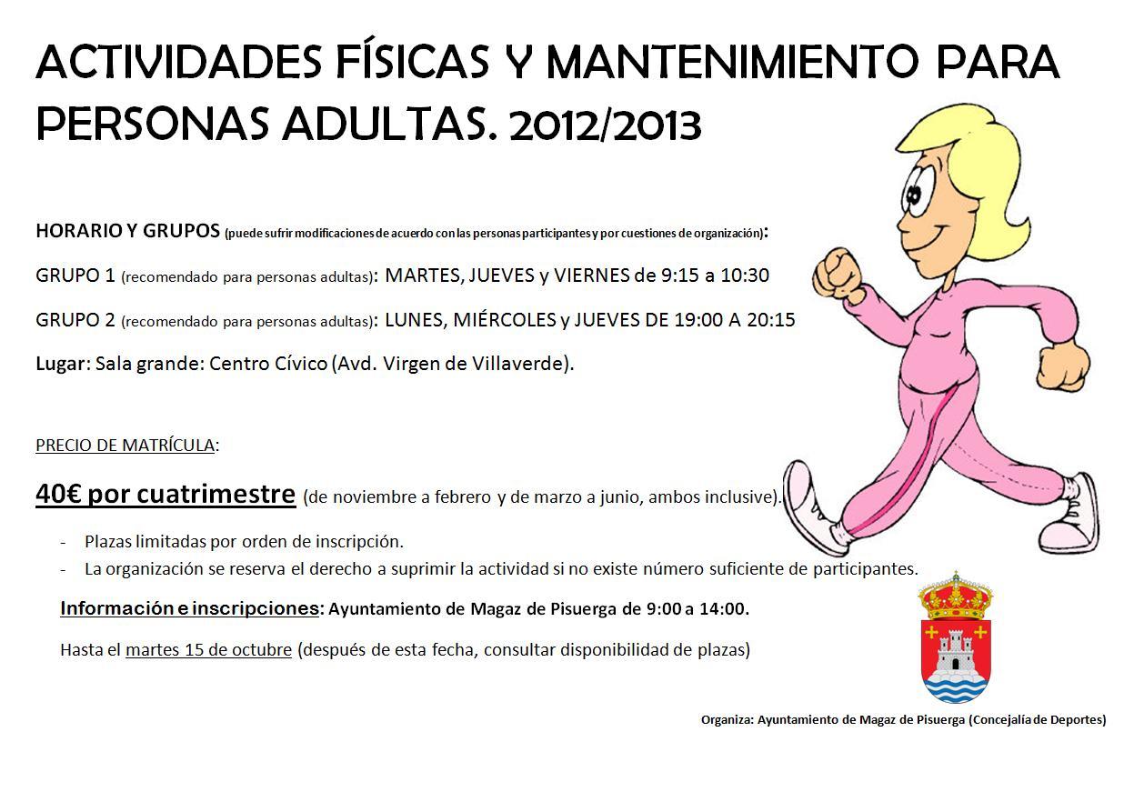 ACTIVIDADES FÍSICAS Y MANTENIMIENTO PARA PERSONAS ADULTAS. 2012/2013