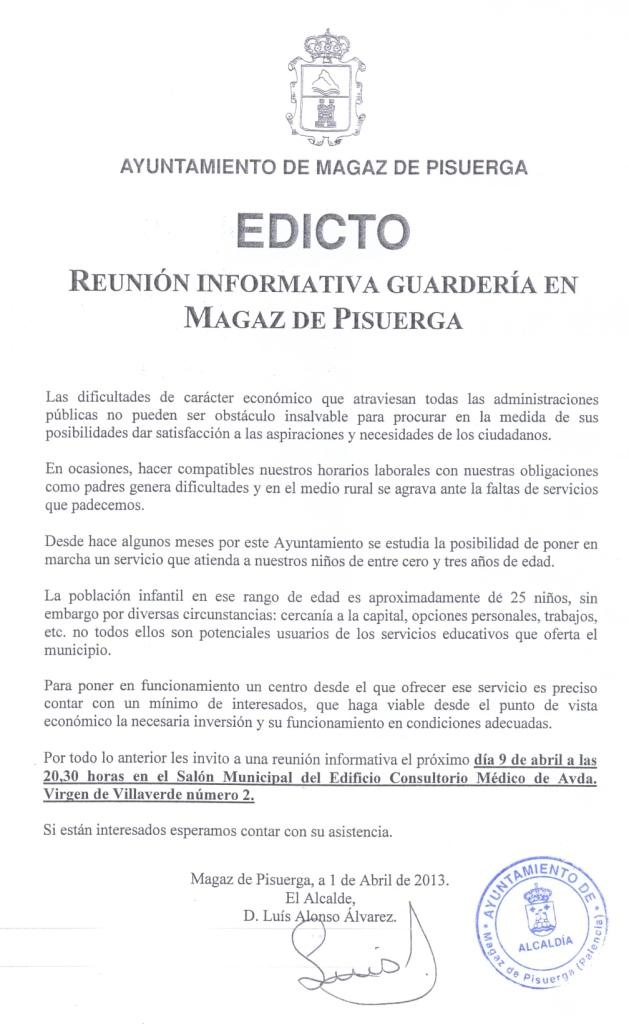 Reunion informativa guarderia en Magaz de Pisuerga