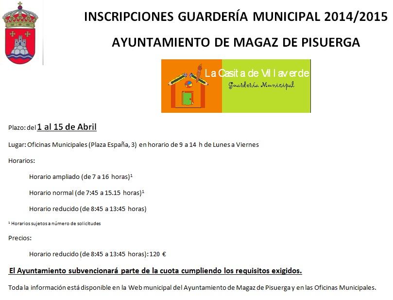 Inscripciones guardería municipal 2014/2015