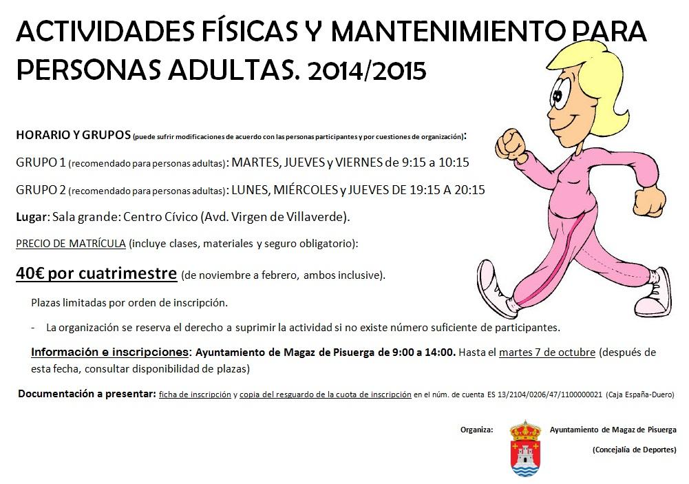 Actividades físicas y de mantenimiento para personas adultas 2014/2015