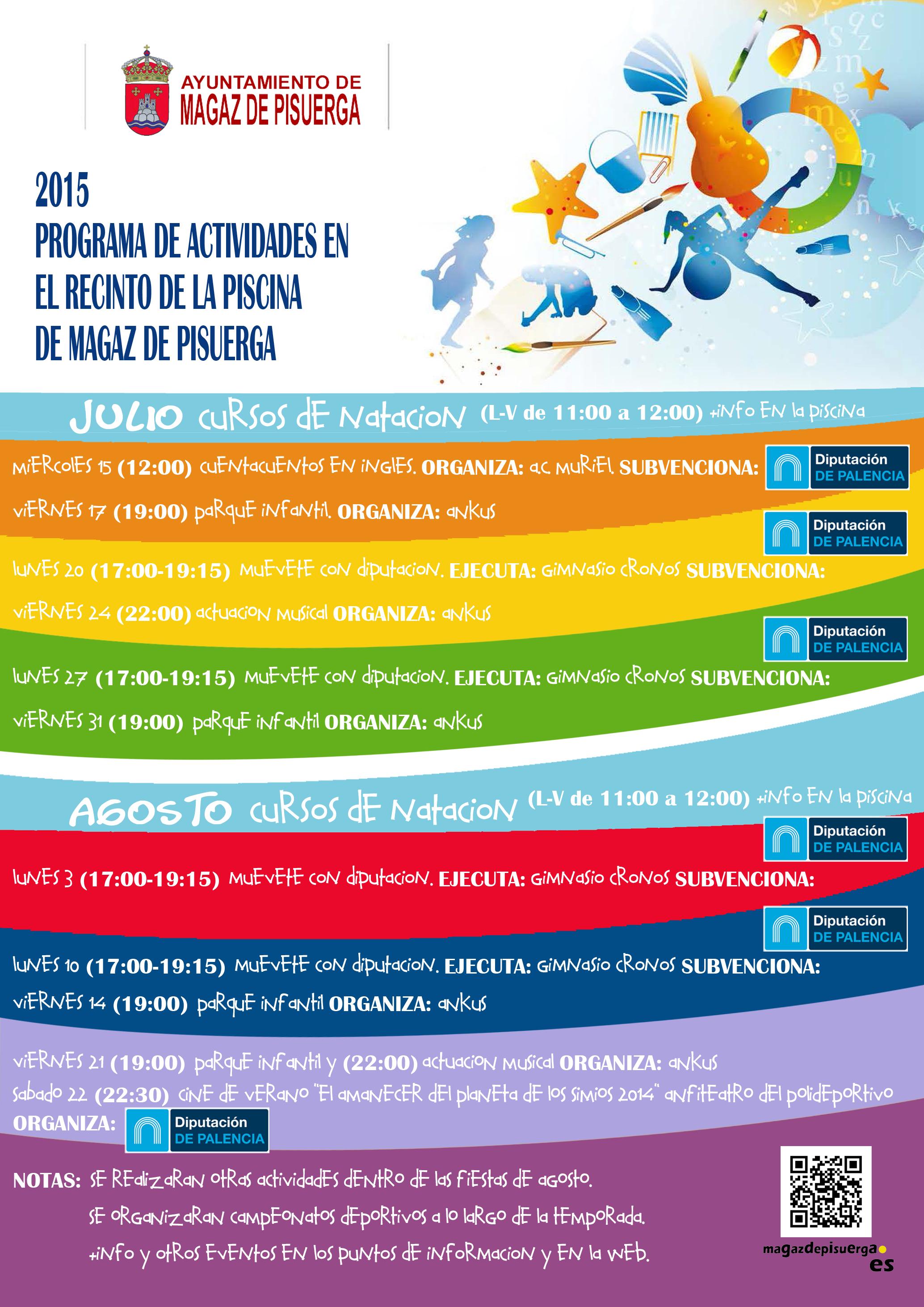 Programa de actividades en el recinto de la piscina