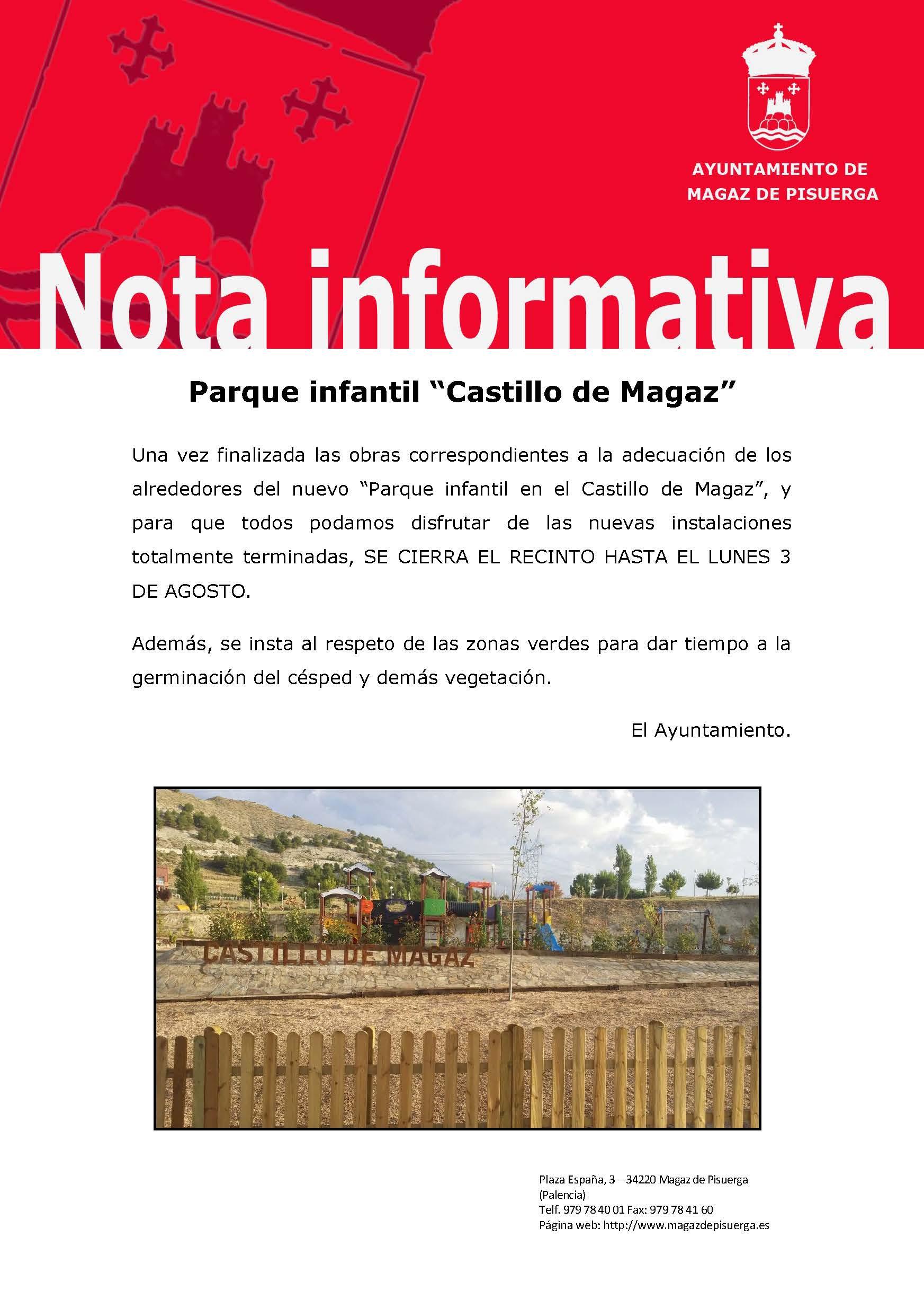 Nota informativa, parque infantil Castillo de Magaz