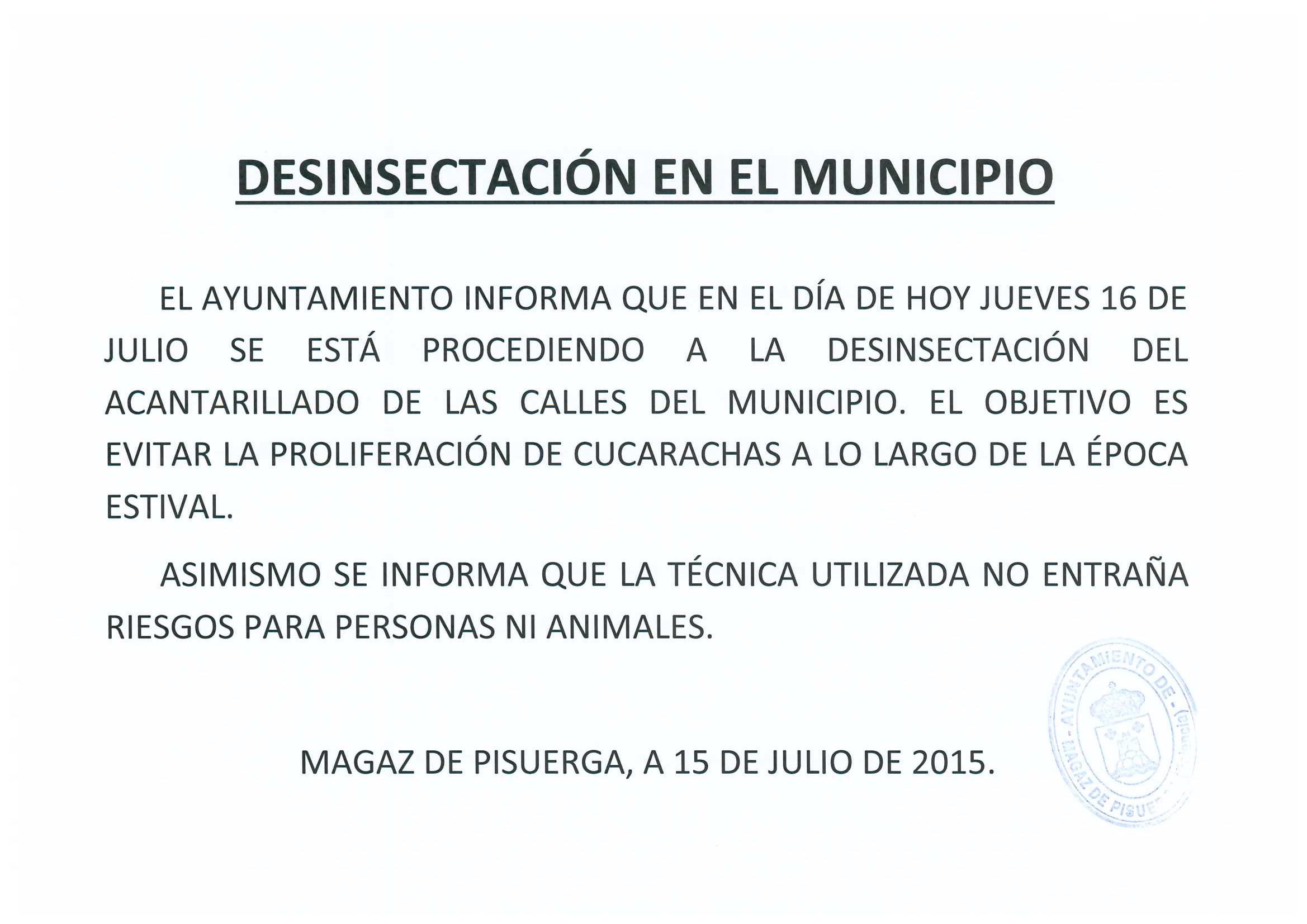Desinsectación en el municipio