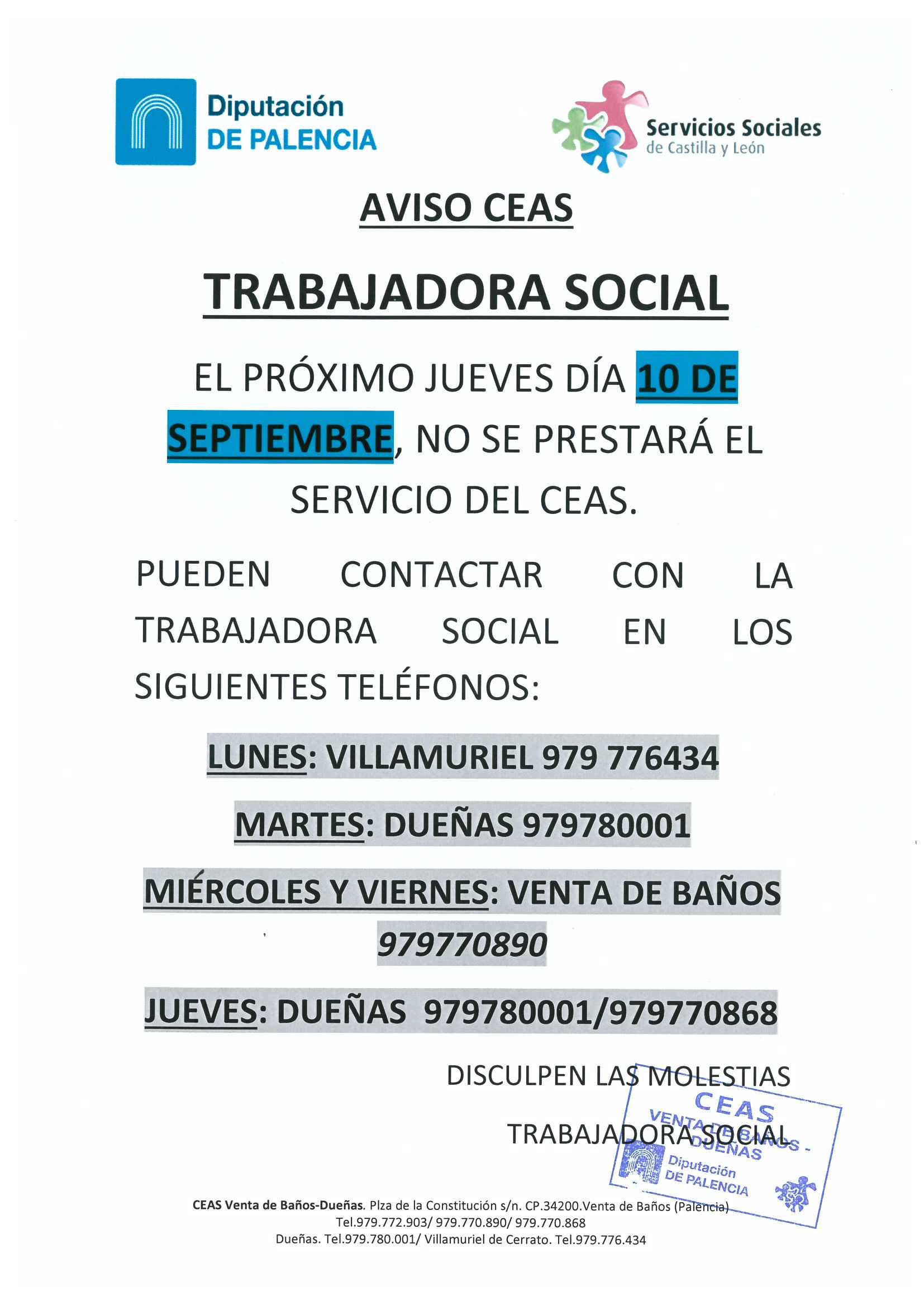 Aviso CEAS «Trabajadora Social»