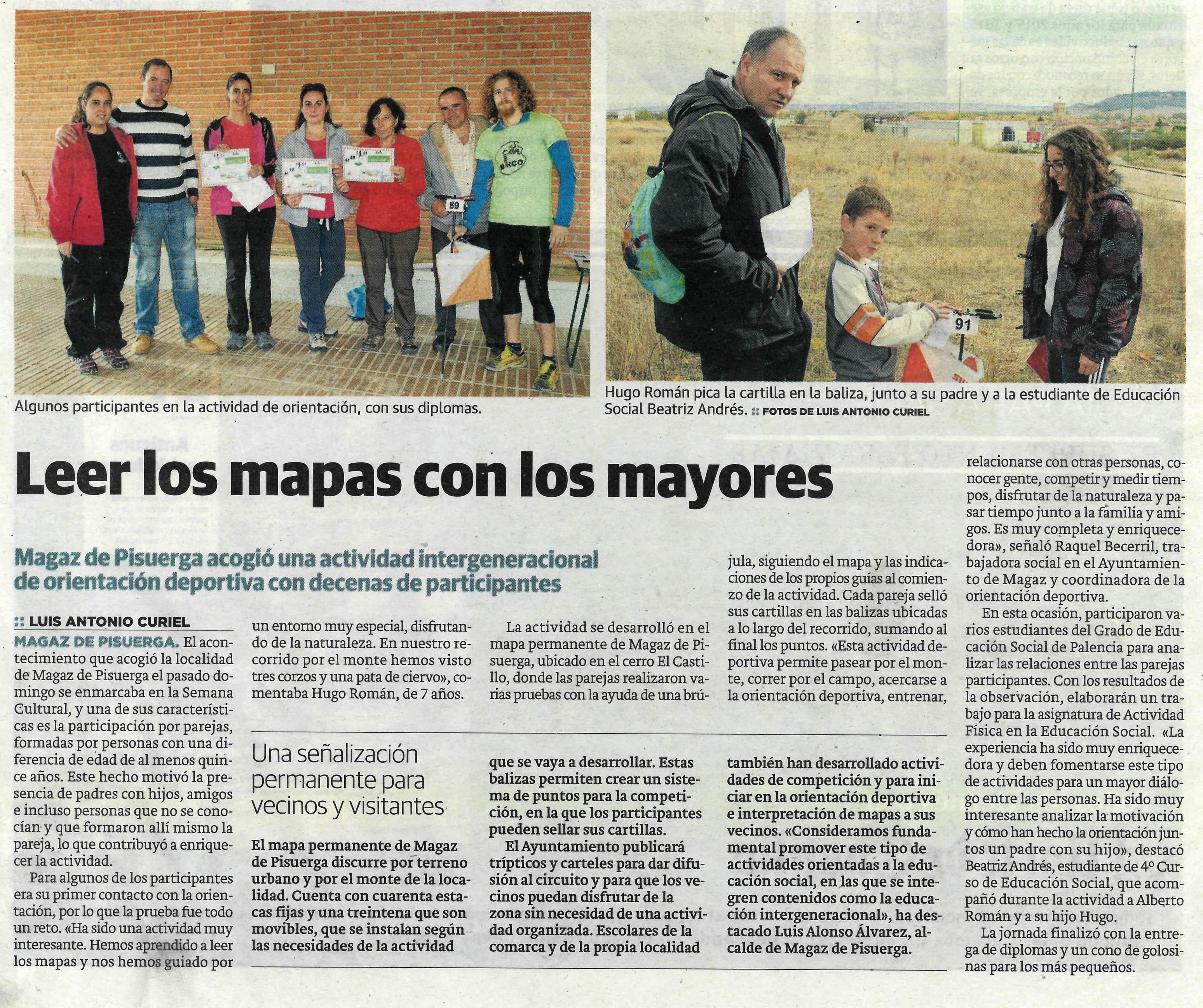 Noticia Norte de Castilla: Leer los mapas con los mayores