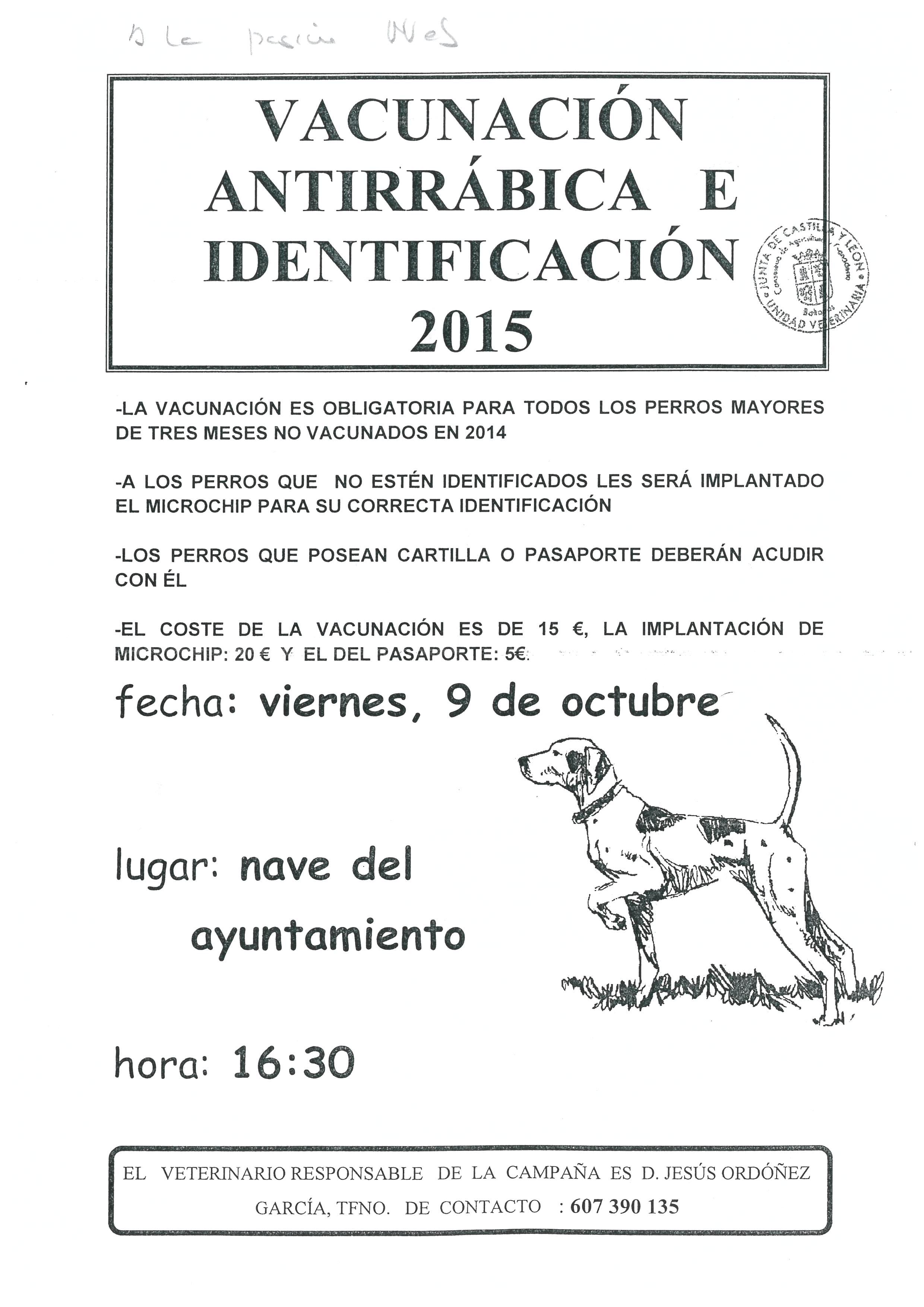 Vacunación antirrábica e identificación 2015