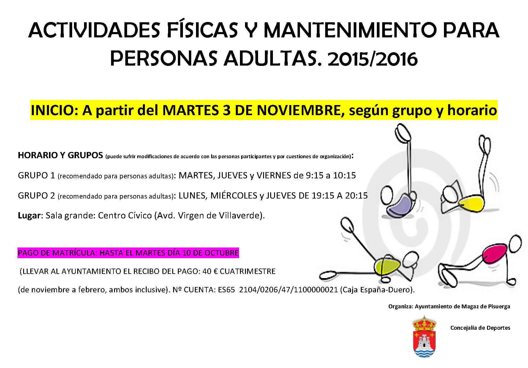 ACTIVIDADES FÍSICAS Y MANTENIMIENTO PARA PERSONAS ADULTAS