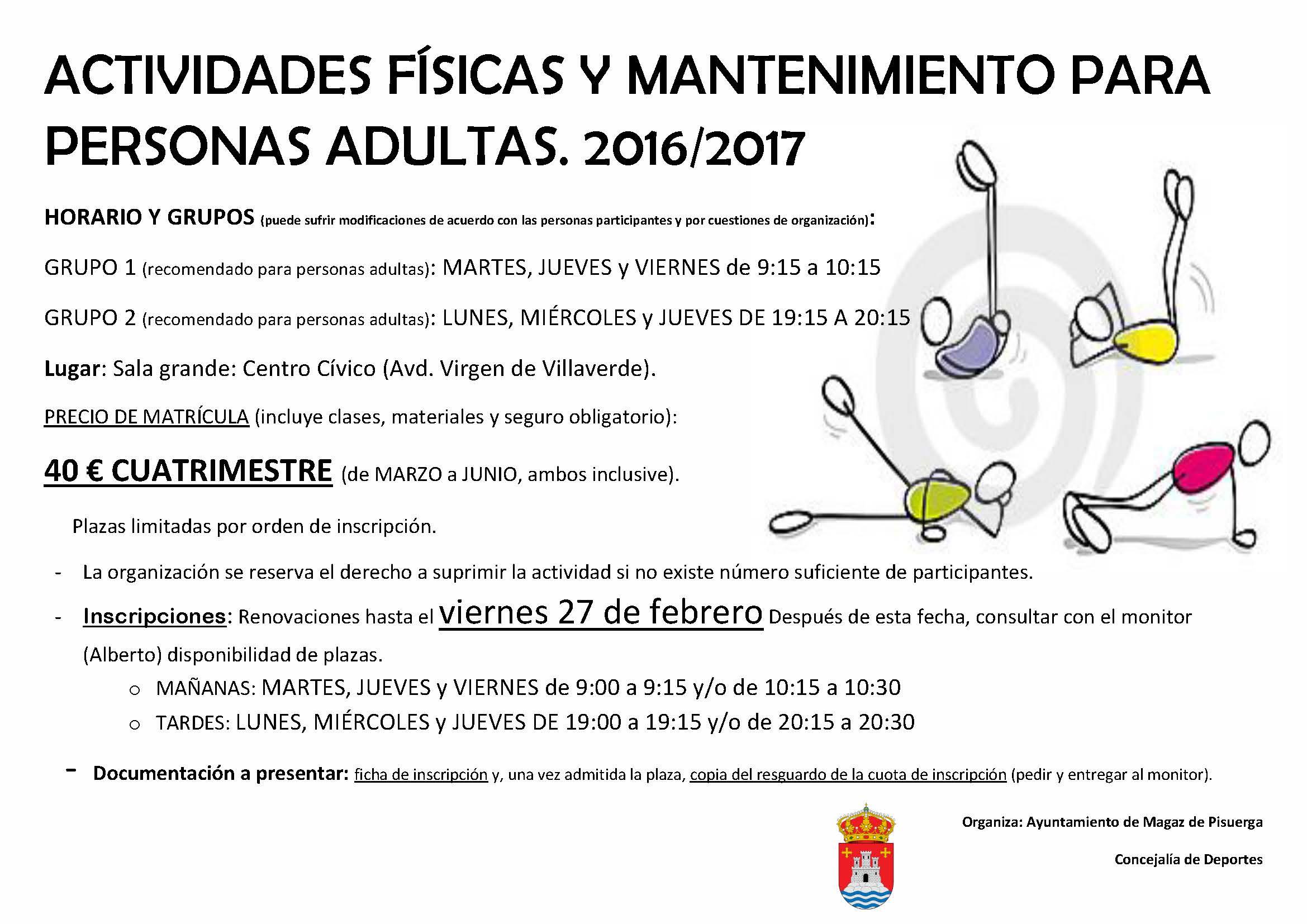 Actividades físicas y mantenimiento para personas adultas 2016/2017