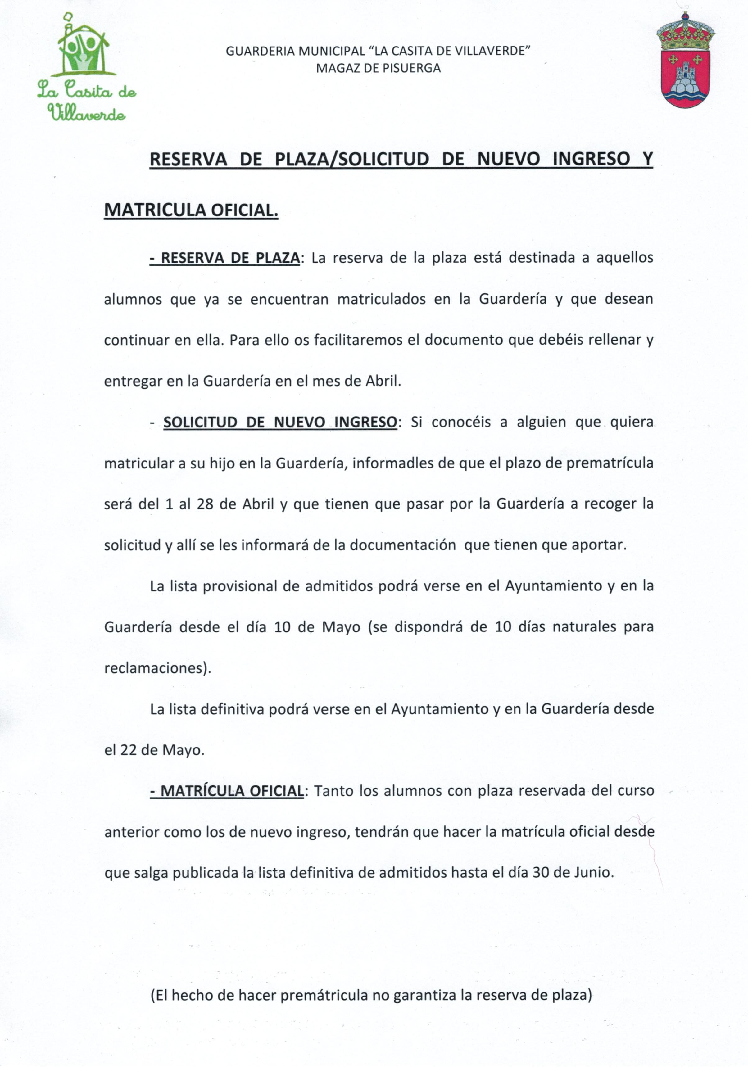 Guardería Municipal «La Casita de Villaverde» – Reserva de plaza/solicitud de nuevo ingreso
