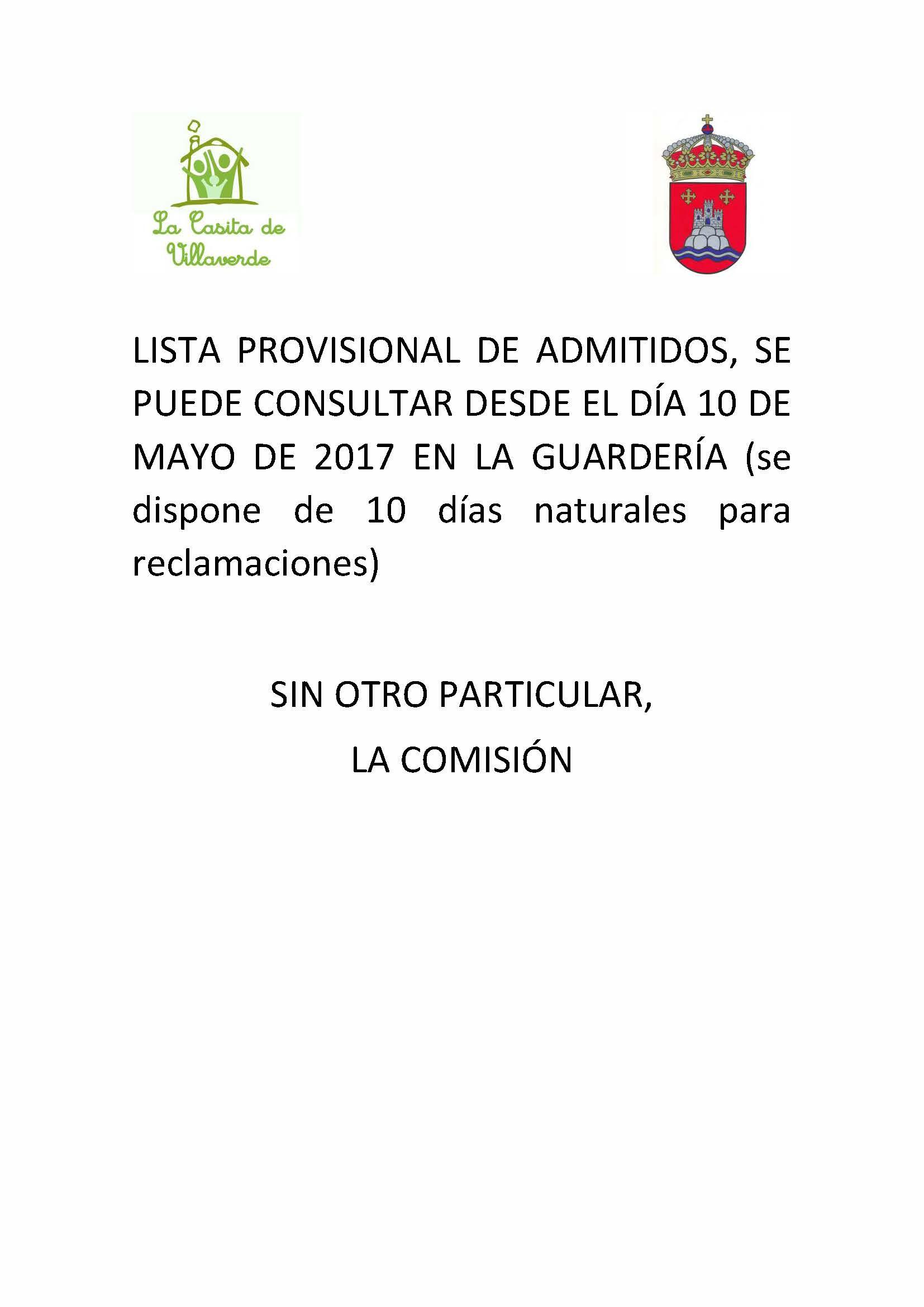 Lista provisional de admitidos en la guardería municipal