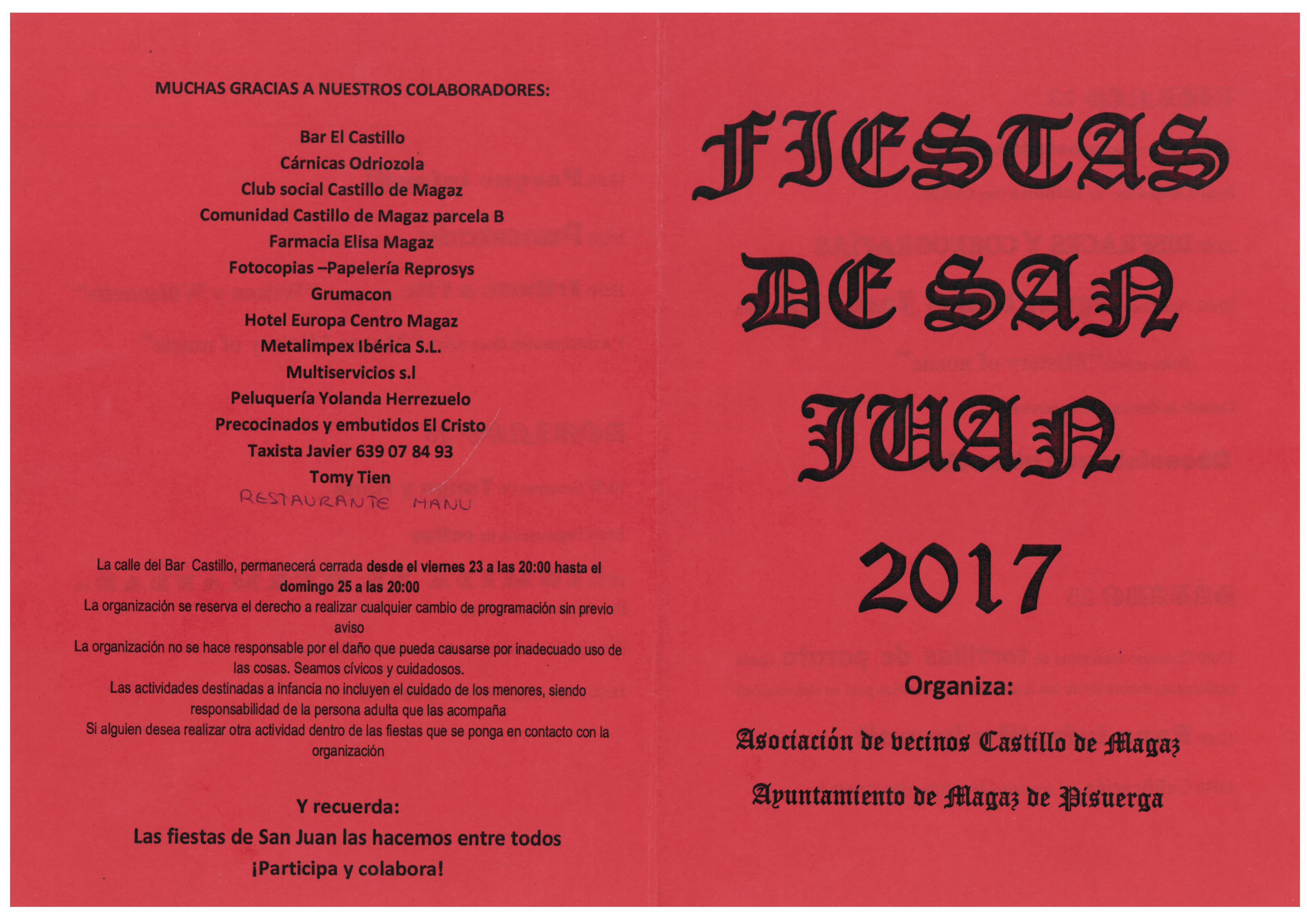 Programa Fiestas de San Juan 2017