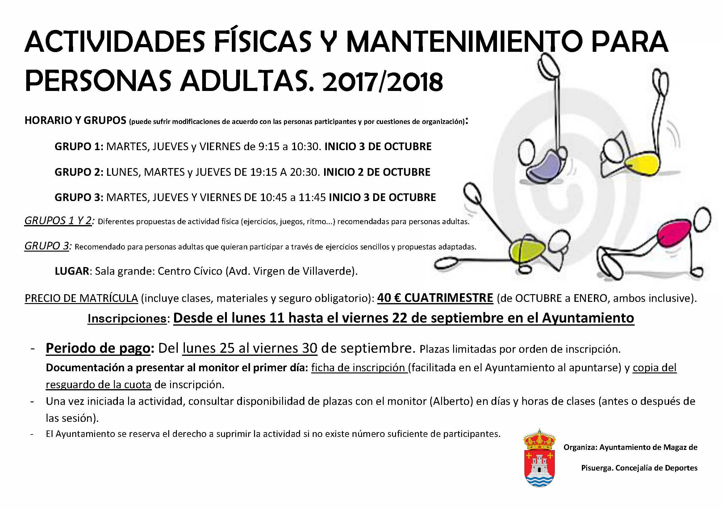 Actividades físicas y mantenimietno para personas adultas 2017/2018