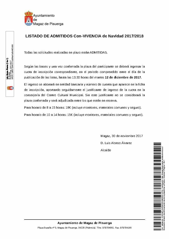 Listado admitidos programa Con-VIVENCIA de Navidad 2017/2018
