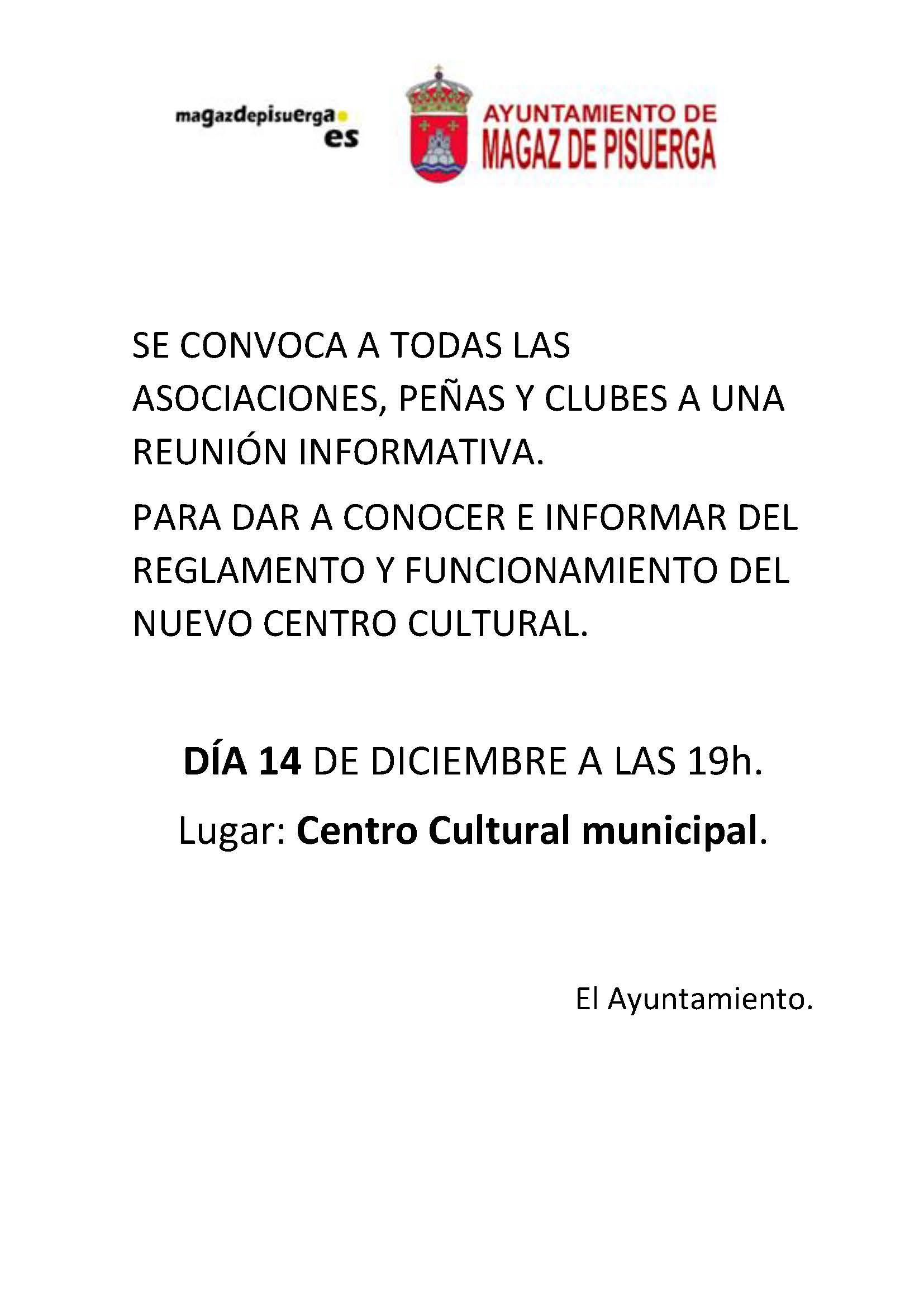 Reunión informativa del «Centro cultural»