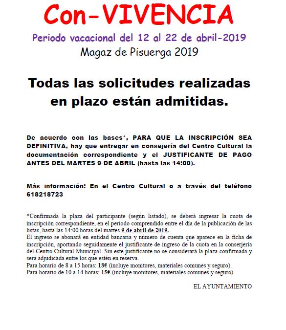 Solicitudes admitidas Con-VIVENCIA abril 2019