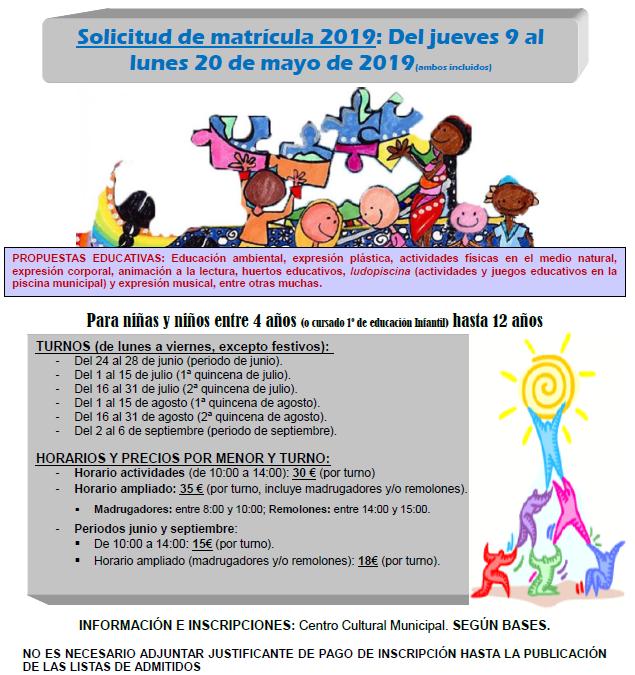 Listado provisional del programa Con-VIVENCIA de Verano  2019