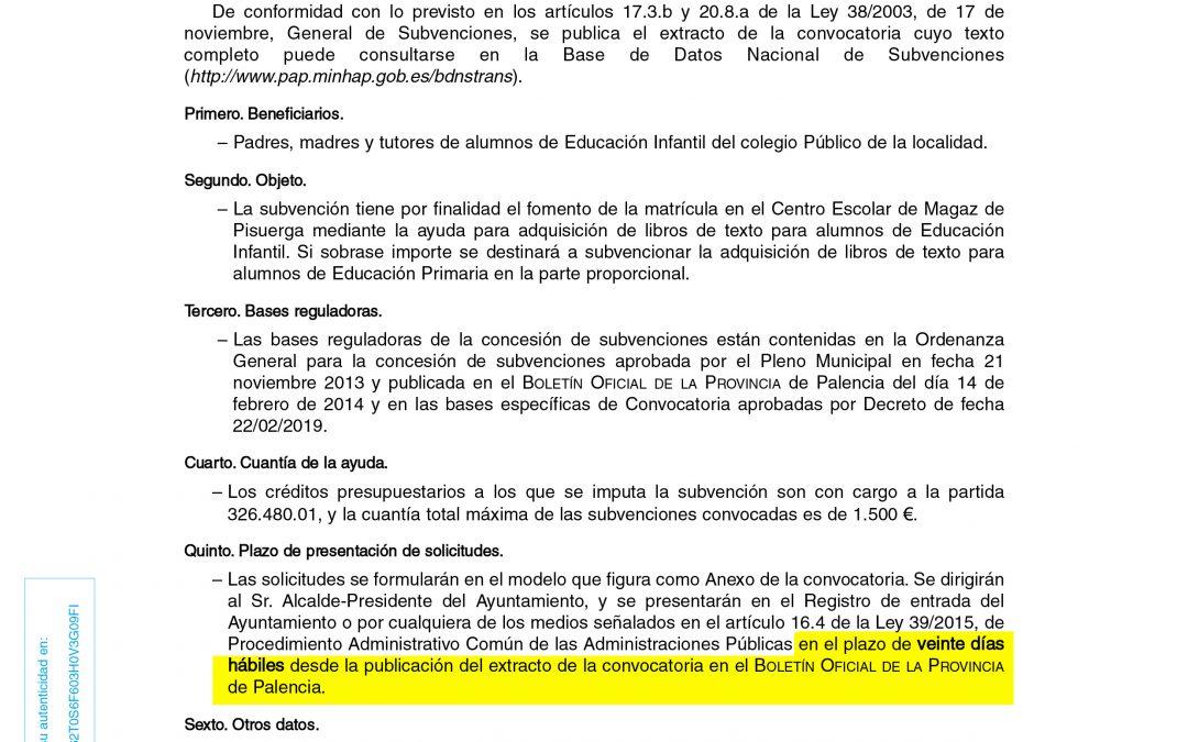Convocatoria para la concesión de subvenciones para adquisición de libros de texto de educación infatil y primaria. BDNS 452758
