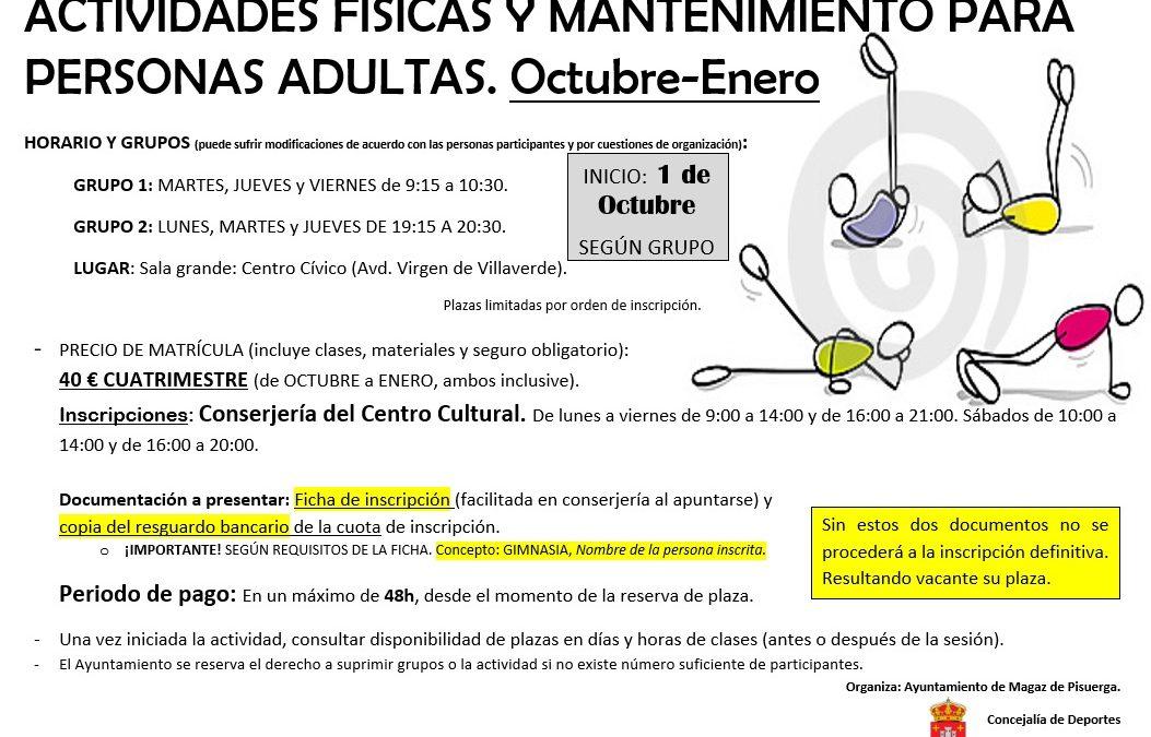 Actividades físicas y mantenimiento para personas adultas. Octubre-enero.