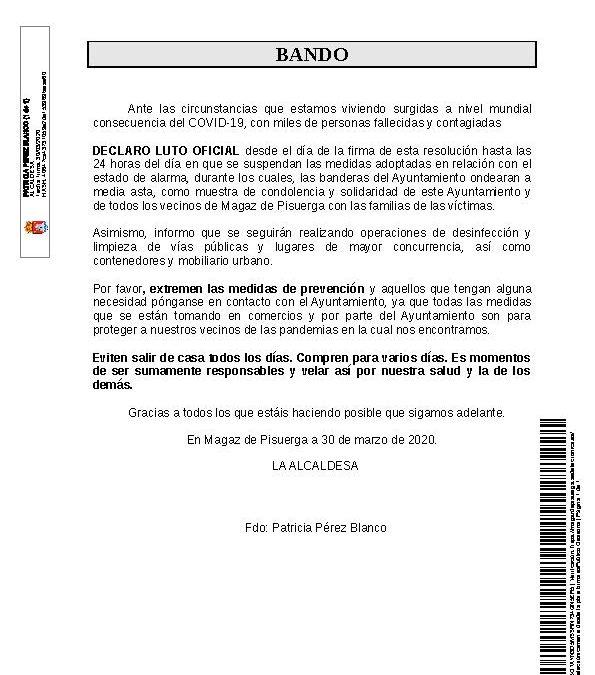 Bando – Declarado Luto Oficial y extremar medidas de prevención