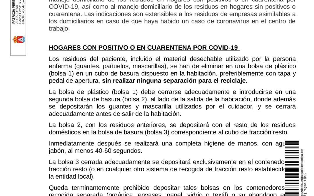 Bando – Hogares con positivo o en cuarentena por Covid-19