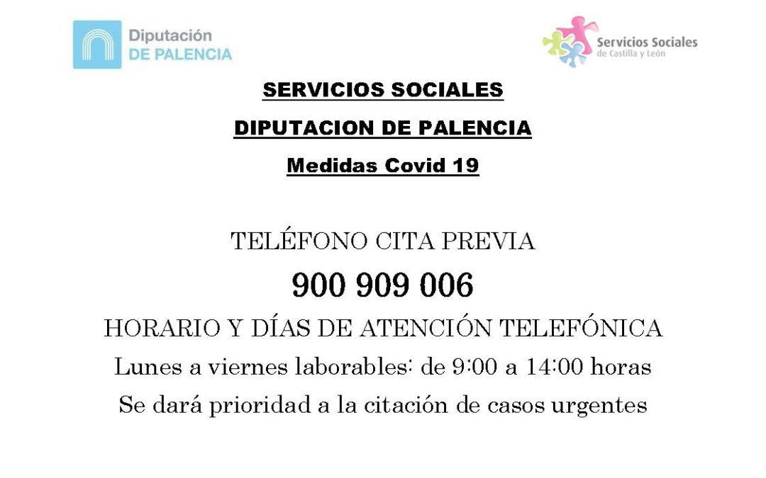 Servicios Sociales de la Diputación de Palencia – Medidas Covid 19