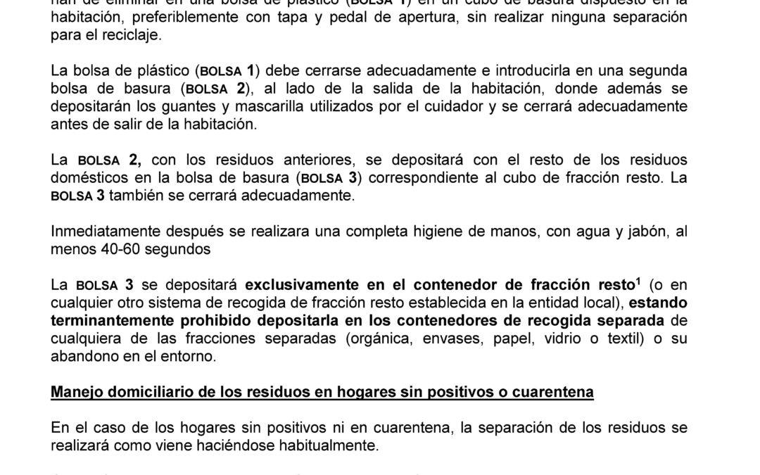 Aviso importante. Instrucción para los domicilios sobre gestión de residuos domésticos y COVID-19.