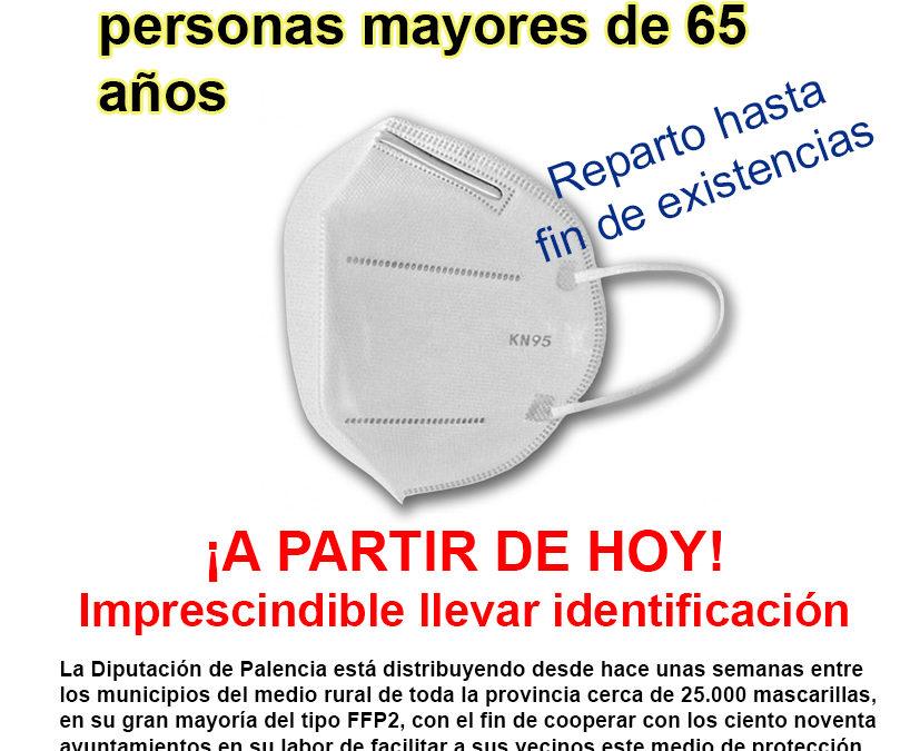 Reparto de MASCARILLAS FFP2 entregadas por la Diputación Provincial, a personas mayores de 65 años