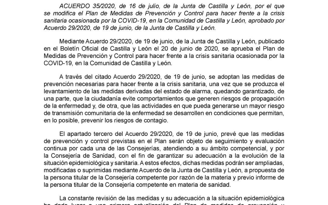 ACUERDO 35/2020 de la Junta de Castilla y León se modifica el Plan Covid-19