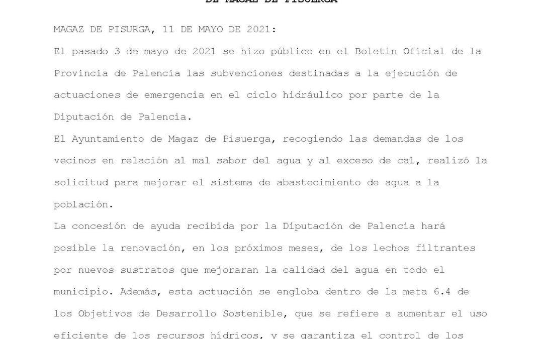 Concesión de la subvención para la renovación de lechos filtrantes y la mejora en la calidad del agua del municipio de Magaz de Pisuerga